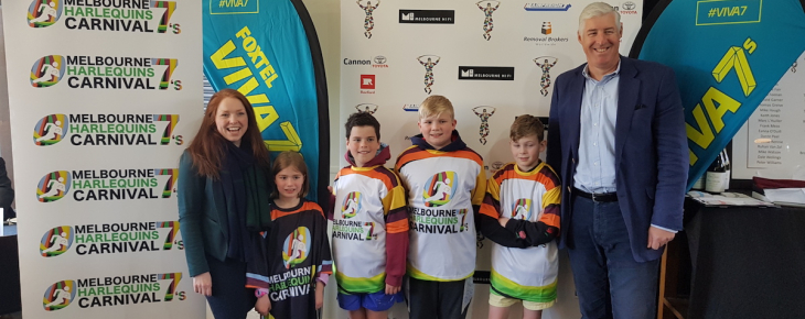Rebecca Paterson, the kids and Cameron Clyne at the launch of Quins VIVA 7s