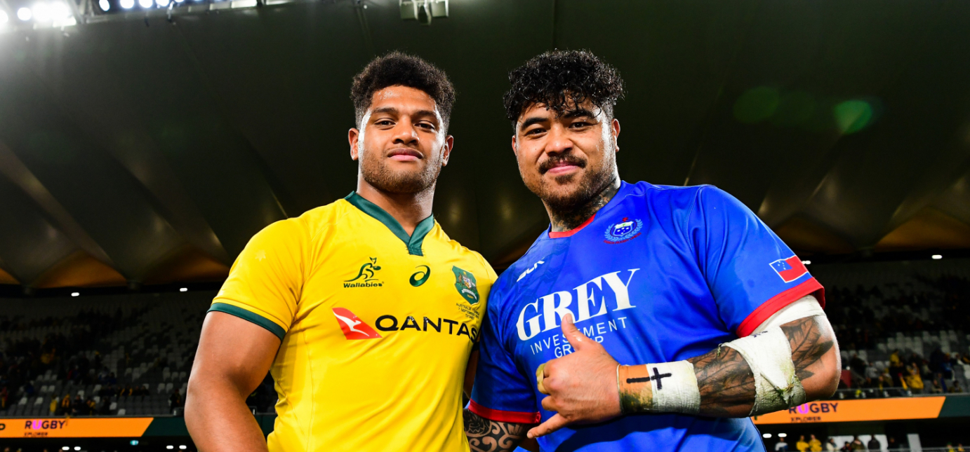 Former Quins - Wallaby Rob Valetini and Manu Samoa Afa Amosa